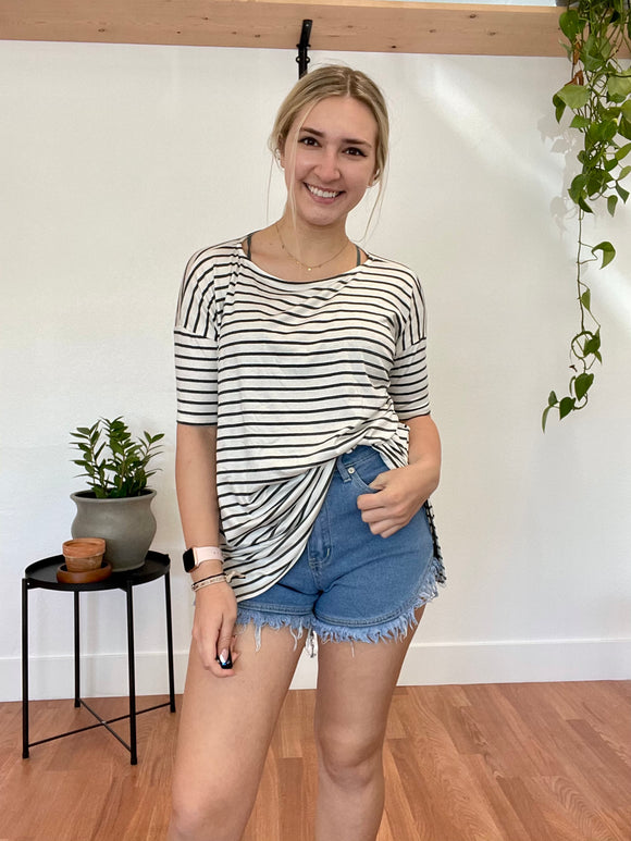 Ivory and Charcoal Striped Tunic