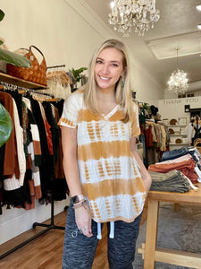 Mustard Split Hem Tie Dye Tunic Top