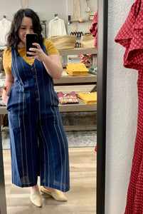 Navy Stiped Overall Jumpsuit