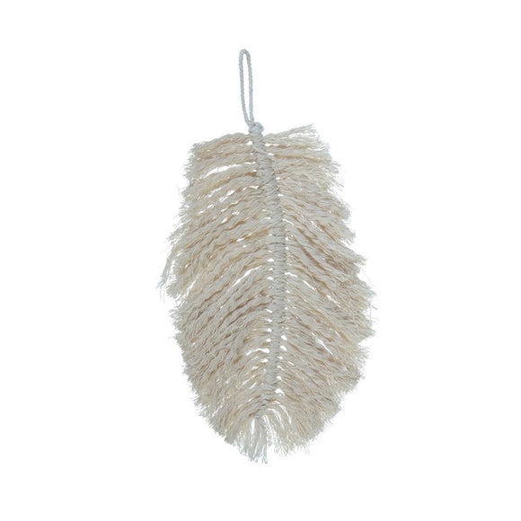 Cotton Knotted Hanging Feather - Terra Cottage