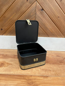 Decorative Black Metal Boxes With Brass Accents