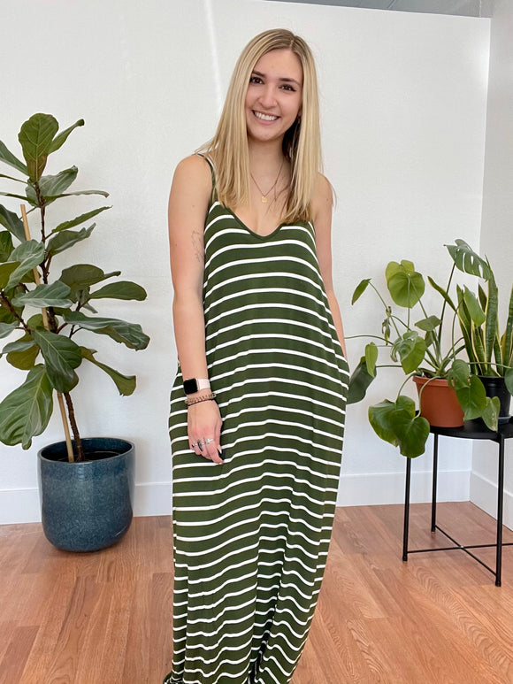 Moss Striped Maxi Dress