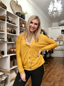 Mustard Relaxed Button Up Cardigan