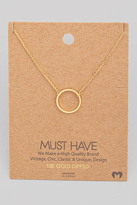 Gold Circle Pendant Necklace