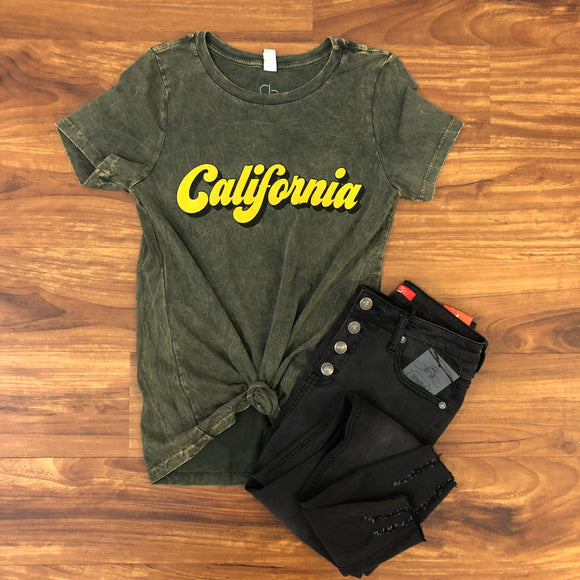 Retro California Mineral Wash Tee - Terra Cottage
