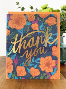 Thank You Cards - Poppies Set Of 6 Cards - Terra Cottage