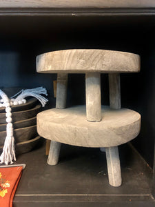 Grey Wood Decorative Stool