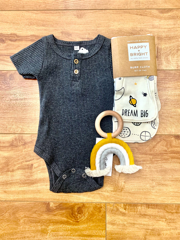 Ribbed Charcoal Onesie - Terra Cottage