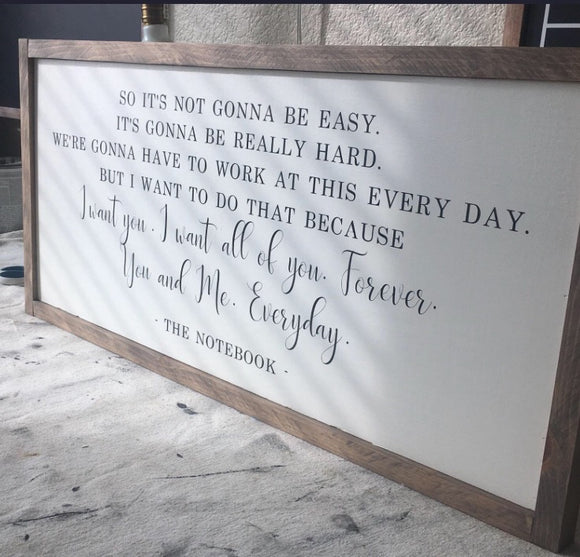 The Notebook Wood Sign