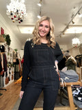 Black Twill Overall Jumpsuit
