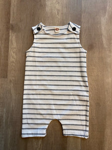 White and Grey Striped Baby Romper - Terra Cottage