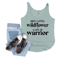 She's A Little Wildflower + A Lot Of Warrior Graphic Tank Top - Terra Cottage