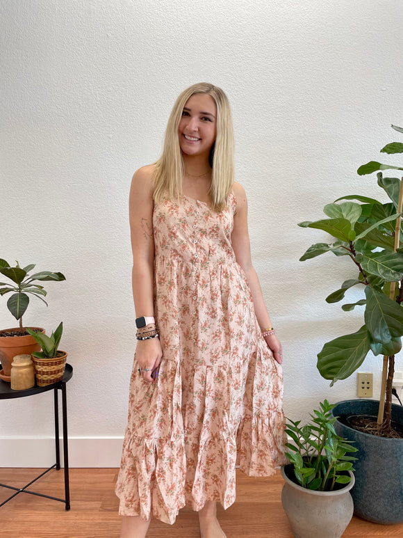 Taupe Floral Tiered Midi Dress