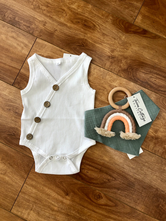 White Ribbed Button Onesie