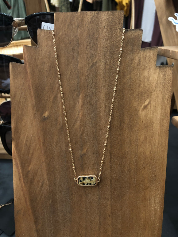 Rectangular Gold Pendant Necklace
