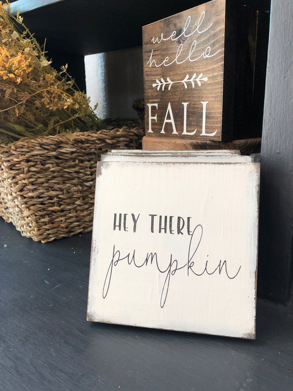 Hey There Pumpkin Mini Sign - Terra Cottage