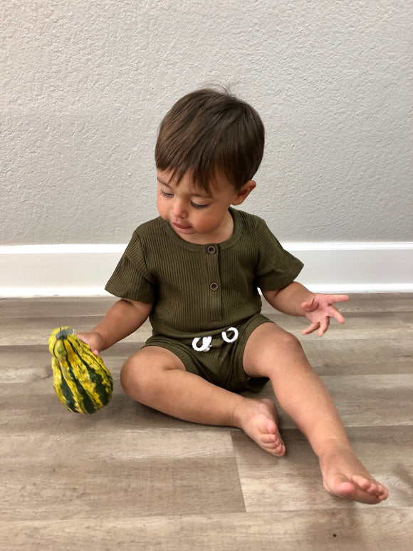 Ribbed Olive Baby Set