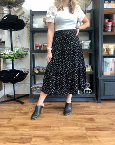 Black Dot Midi Skirt