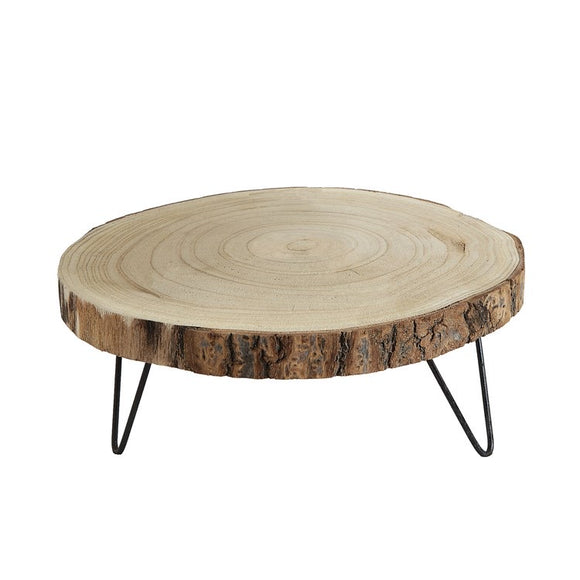 Round Wood Riser w/ Metal Legs - Terra Cottage
