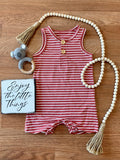 Watermelon Striped Henley Baby Romper