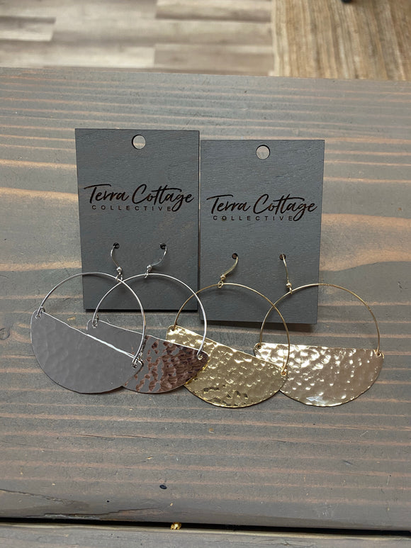 Half Hammered Hoop Earrings - Terra Cottage