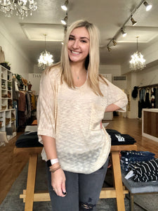 Relaxed Knit Ivory V Neck Top