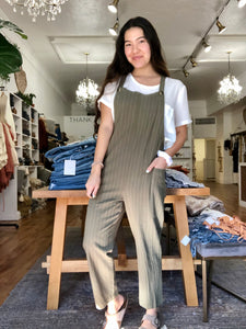 Olive Pinstriped Overall Jumpsuit
