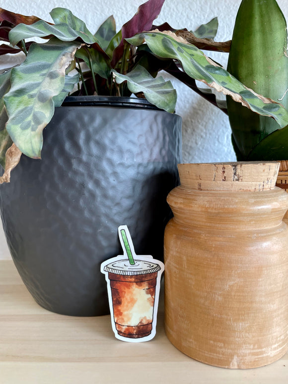 Iced Coffee Watercolor Sticker