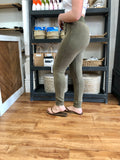 Olive Button Front Leggings