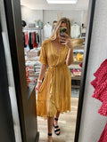 Mustard Striped Flutter Dress
