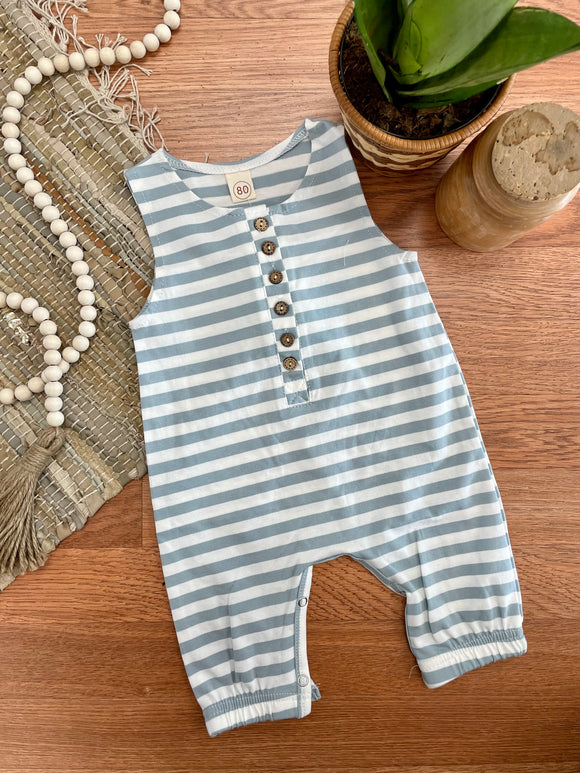 Light Blue Striped Henley Baby Romper