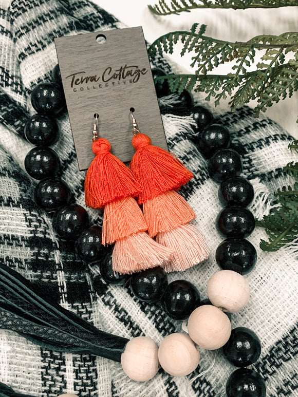 Three Tiered Ombré Tassel Earrings - Terra Cottage
