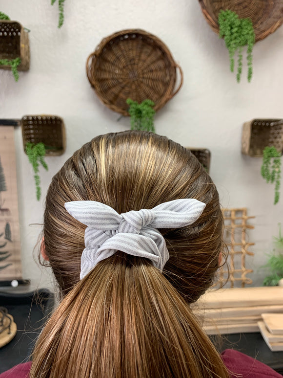 Light Grey and White Striped Scrunchie - Terra Cottage