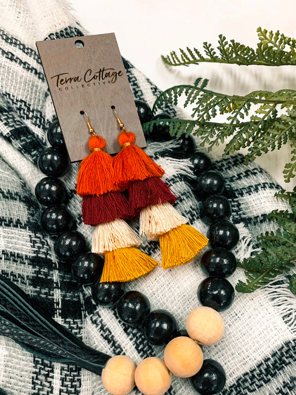 Four Tiered Tassel Earrings - Terra Cottage