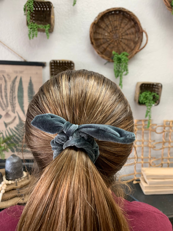 Slate Grey Velvet Scrunchie