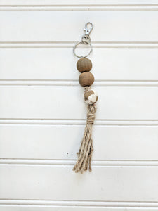 Stained Wood and Chippy White Keychain - Terra Cottage