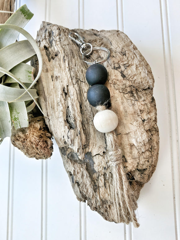 Modern  Black and Raw Wood Keychain