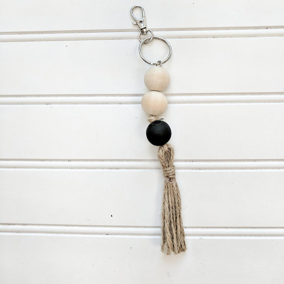 Boho Raw Wood and Black Keychain
