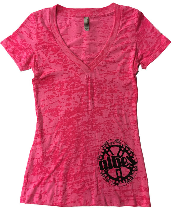 Albe's BMX womans burnout v-neck shirt in Pink at Albe's BMX
