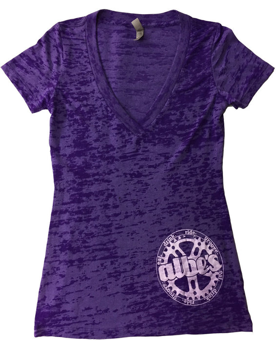 Albe's BMX womans burnout v-neck shirt in Purple at Albe's BMX