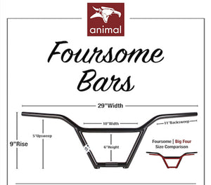 Animal Foursome BMX Bar specs at Albe's BMX