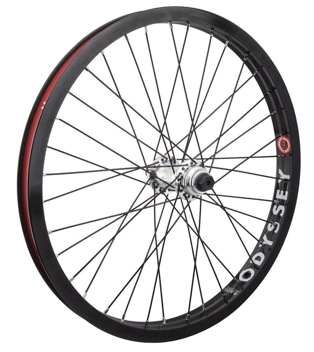 Odyssey Hazard Lite Vandero Pro Front Wheel in black with silver hubs at Albe's BMX Online