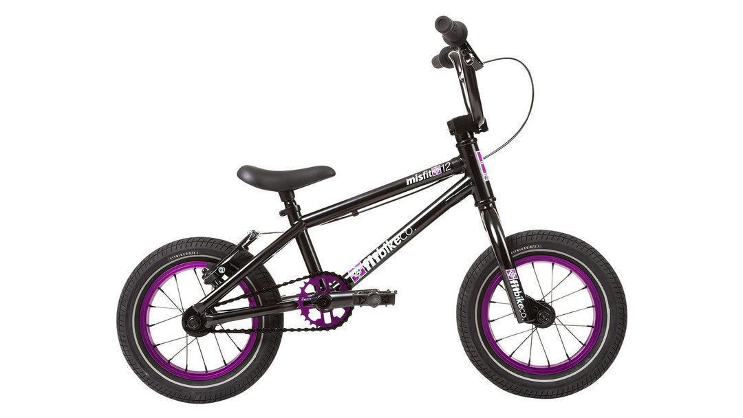 "Fit Misfit 12"" Bike 2020 in black and purple at Albe's BMX Online"