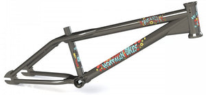 Hoffman Bikes Big Daddy Frame in raw with red decals at Albe's BMX Online