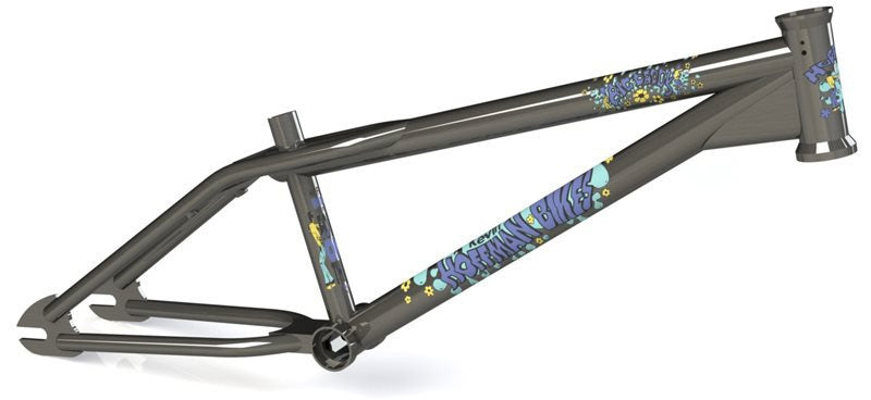 Hoffman Bikes Big Daddy Frame in raw with Blue decals at Albe's BMX Online
