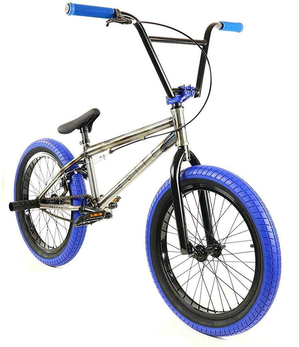 Elite BMX Destro Bike in Raw and Blue at Albe's BMX Online
