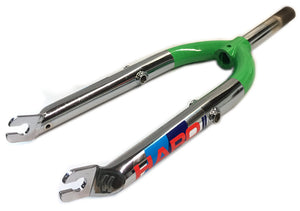 1986 Haro Master 1 inch threaded BMX fork in chrome and green at Albe's BMX