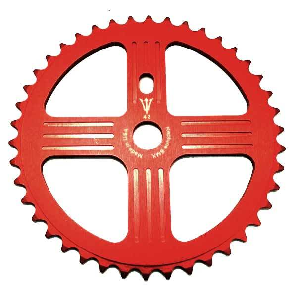 43 tooth RED NEPTUNE BMX HELM SPROCKET GEAR for 19mm spindles Made in USA