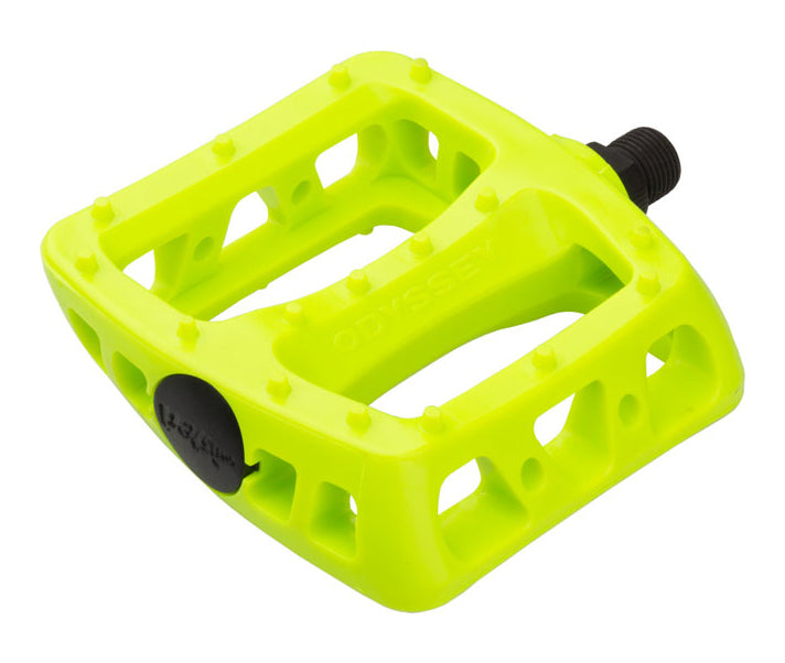 Odyssey Twisted PC Pedals In Flo Yellow at Albe's BMX Bike Shop