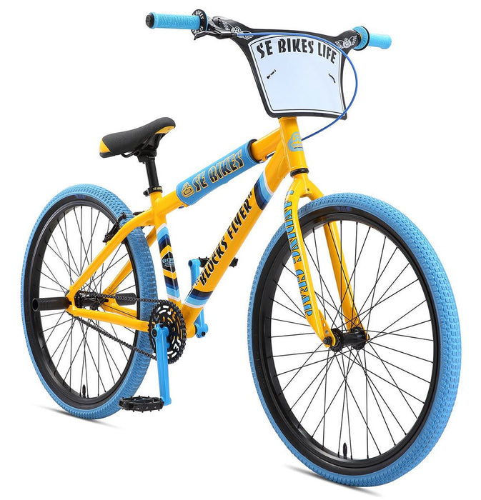 SE Bikes Blocks Flyer 2019 BMX Bike In Yellow and Blue Camo at Albe's BMX Bike Shop Online